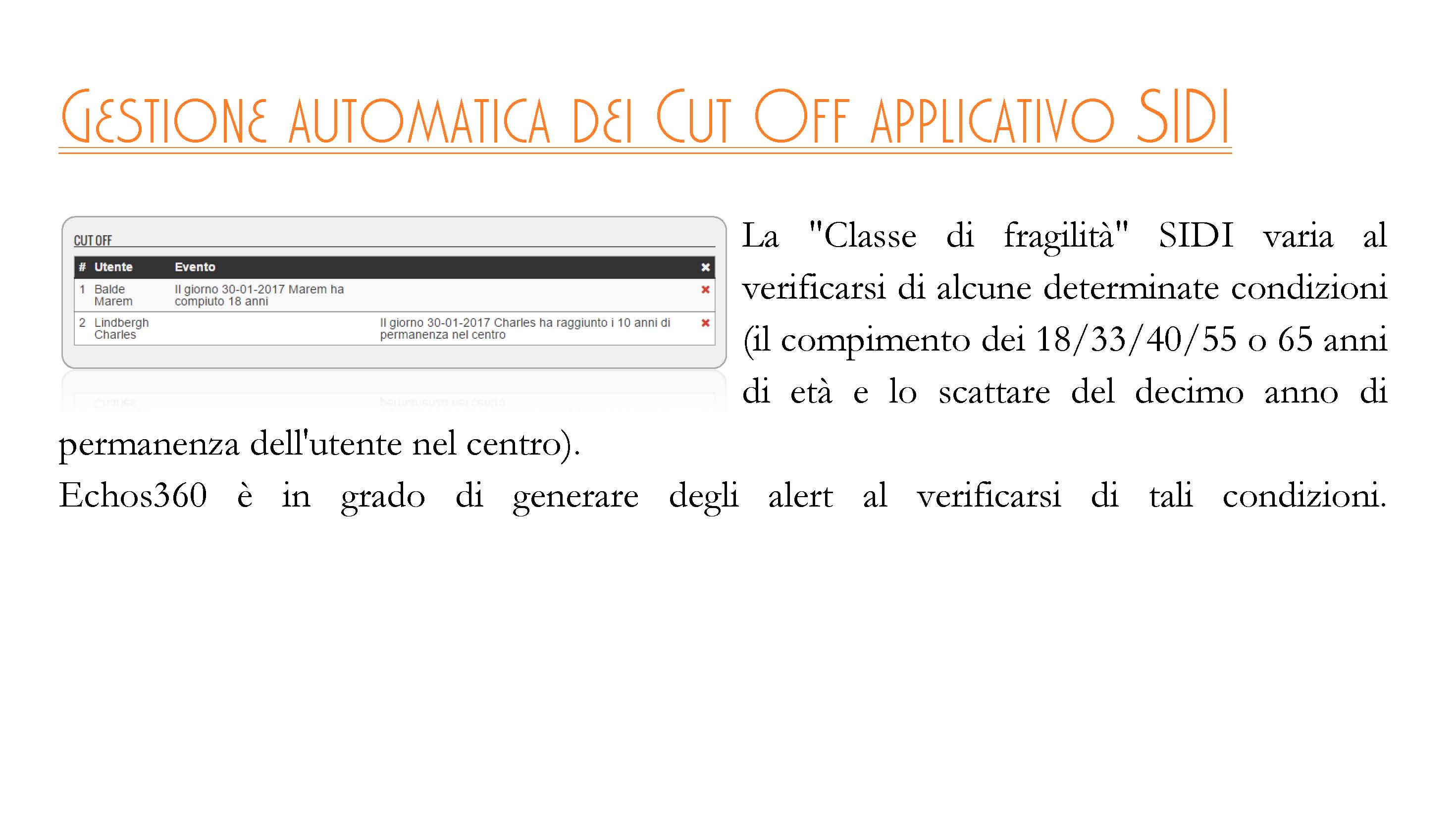 Gestione automatica dei CUT OFF applicativo SIDI